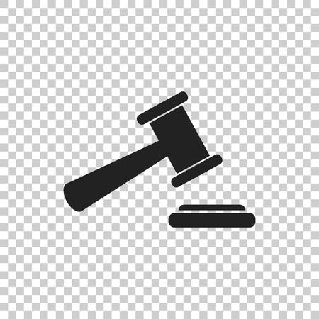 Auktion Hammer Vektor-Symbol. Gericht Tribunal flache Ikone.