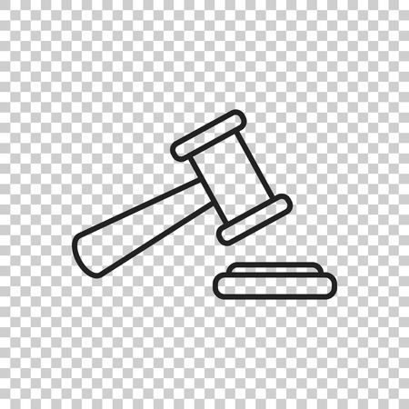Auction hammer vector icon in line style. Court tribunal flat icon.