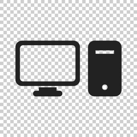 Computer vector illustration. Monitor flat icon. Illustration