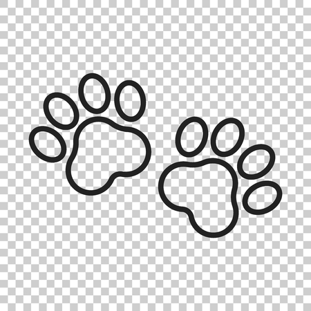 Paw print vector icon in line style. Dog or cat pawprint illustration. Animal silhouette. Çizim