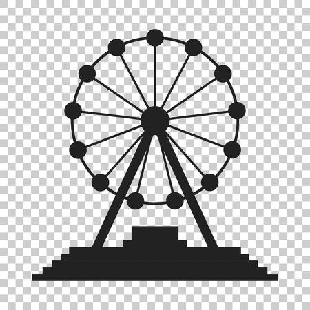 spinning: Ferris wheel vector icon. Carousel in park icon. Amusement ride illustration. Illustration