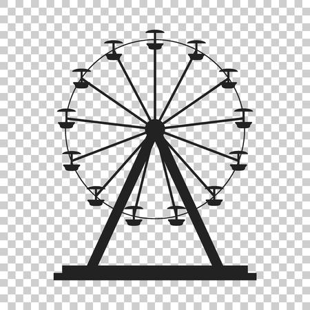 Ferris wheel vector icon. Carousel in park icon. Amusement ride illustration. Иллюстрация