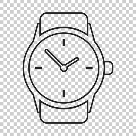 Watch vector icon in line style. Clock flat illustration.