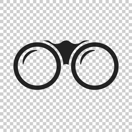 Binoculaire vector icoon. Kijkers verkennen platte illustratie.