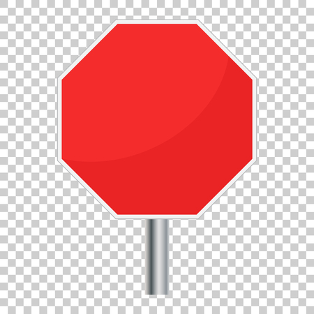 Blank red stop sign vector icon. Empty danger symbol vector illustration.