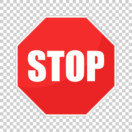 Red stop sign vector icon. Danger symbol vector illustration.