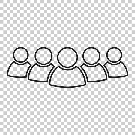 Group of people vector icon in line style. Persons icon illustration. Ilustração