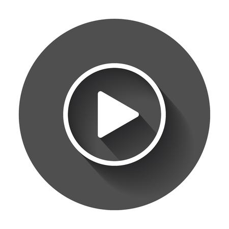 아이콘 벡터를 재생합니다. 검은 색 바탕에 플랫 스타일로 비디오 삽화를 재생하며 긴 그림자가있는 배경.