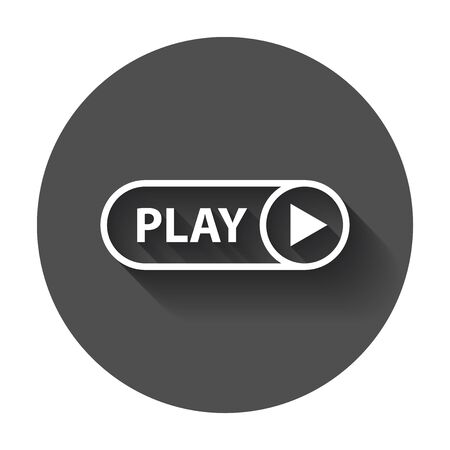 pause button: Play icon vector. Play video illustration in flat style on black round background with long shadow. Illustration