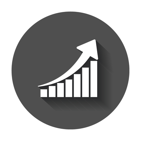Growth chart icon. Grow diagram flat vector illustration. Business concept on black round background with long shadow. 向量圖像