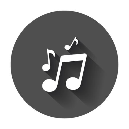 Vector music icon. Sound note illustration on black round background with long shadow.