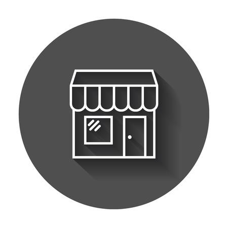 Icono del vector de la tienda. Ilustración de la construcción de la tienda en fondo redondo negro con la sombra larga. Foto de archivo - 82678444