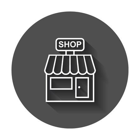 Icono del vector de la tienda. Ilustración de la construcción de la tienda en fondo redondo negro con la sombra larga. Foto de archivo - 82678445