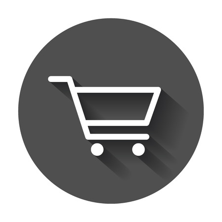 Shopping cart vector icon. Flat illustration on black round background with long shadow. Illustration