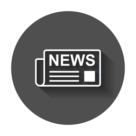 Newspaper flat vector icon. News symbol logo illustration on black round background with long shadow. Vectores