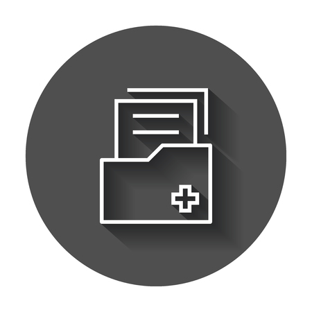 Document flat vector icon. Archive data file symbol logo illustration on black round background with long shadow.