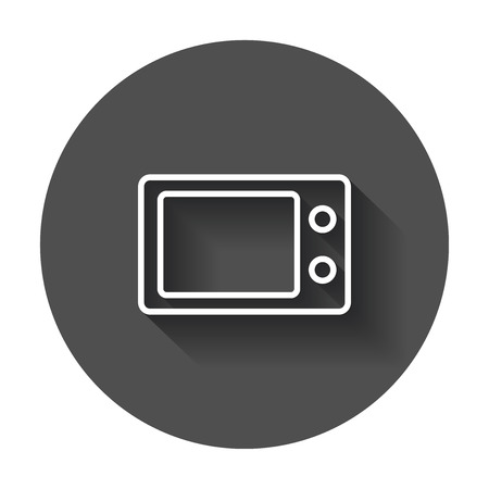 Microwave flat vector icon. Microwave oven symbol logo illustration on black round background with long shadow.