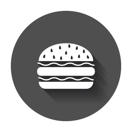 Burger fast food flat vector icon. Hamburger symbol logo illustration on black round background with long shadow.
