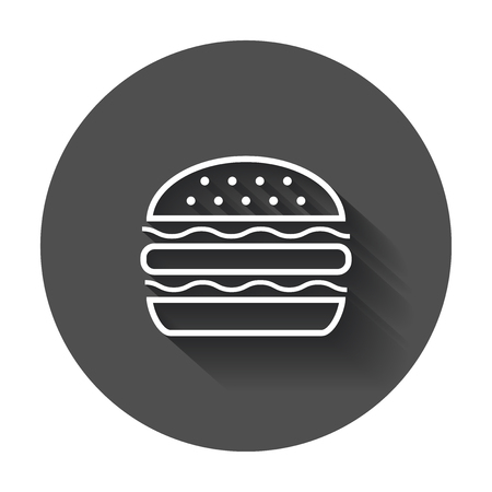 Burger fast food flat vector icon. Hamburger symbol logo illustration on black round background with long shadow.