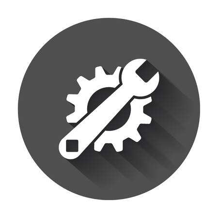 Service tools flat vector icon. Cogwheel with wrench symbol logo illustration on black round background with long shadow.