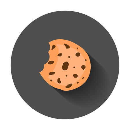 Cookie flat vector icon. Chip biscuit illustration. Dessert food pictogram on black round background with long shadow. Stock Vector - 82678483