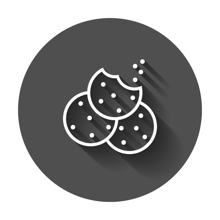 Cookie flat vector icon. Chip biscuit illustration. Dessert food pictogram on black round background with long shadow.