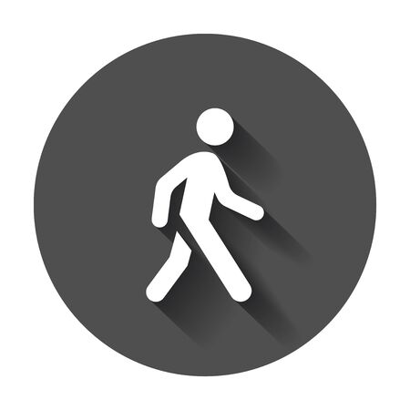 Walking man vector icon. People walk sign illustration on black round background with long shadow.