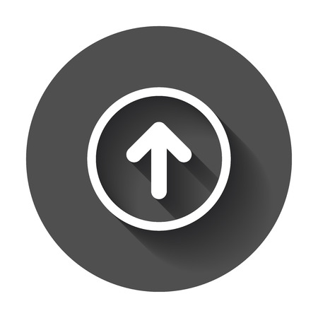 Arrow up vector icon. Forward arrow sign illustration on black round background with long shadow. Illustration