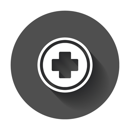Medical health vector icon. Medicine hospital plus sign illustration on black round background with long shadow.