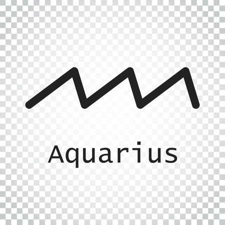 Aquarius zodiac sign. Flat astrology vector illustration on isolated background. Simple pictogram.