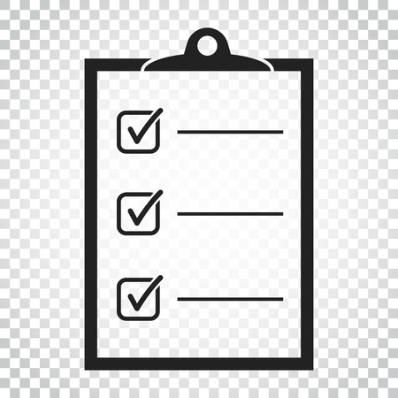To do list icon. Checklist, task list vector illustration in flat style. Reminder concept icon on isolated background. Simple business concept pictogram.