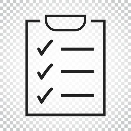 Icône de liste de tâches. Liste de vérification, illustration vectorielle de liste de tâches dans un style plat. Icône de concept de rappel sur fond isolé. Pictogramme de concept d'entreprise simple. Banque d'images - 82986140