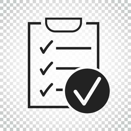 checklist: Checklist vector icon. Survey vector illustration in flat design on isolated background. Simple business concept pictogram.