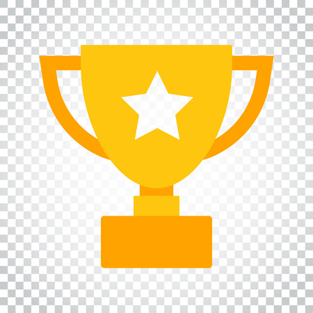 Trophy cup flat vector icon. Simple winner symbol. Gold illustration on isolated background. Simple business concept pictogram.
