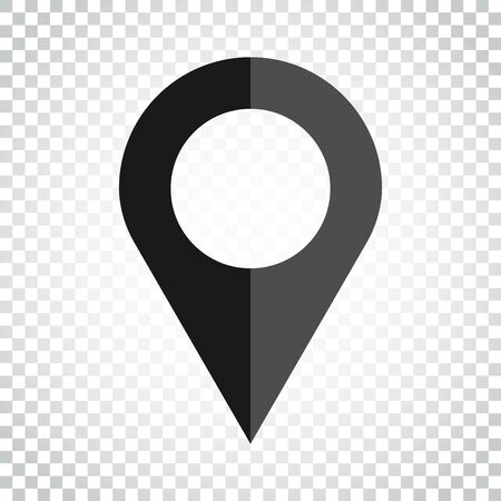 Pin icon vector. Location sign in flat style on isolated background. Navigation map, gps concept. Simple business concept pictogram.