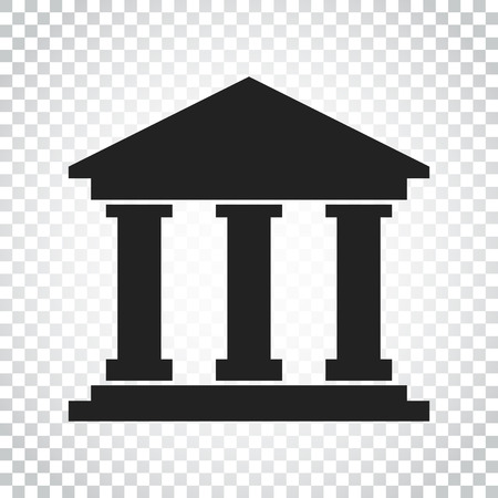 Bank building icon in flat style. Museum vector illustration on isolated background. Simple business concept pictogram.