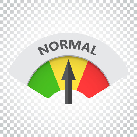 Normal level risk gauge vector icon. Normal fuel illustration on isolated background. Simple business concept pictogram.