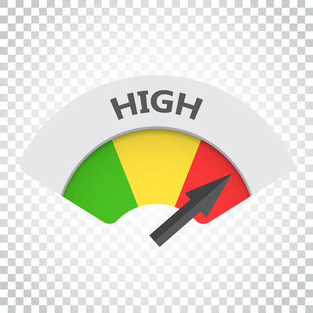 High level risk gauge vector icon. High fuel illustration on isolated background. Simple business concept pictogram.