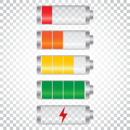 Set of battery charge level indicator. Vector illustration on isolated background. Simple business concept pictogram.