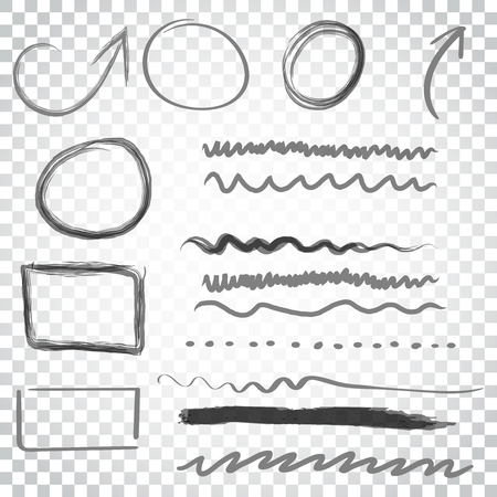 Hand drawn arrows and circles icon set. Collection of pencil sketch symbols. Vector illustration on isolated background. Simple business concept pictogram. Illusztráció