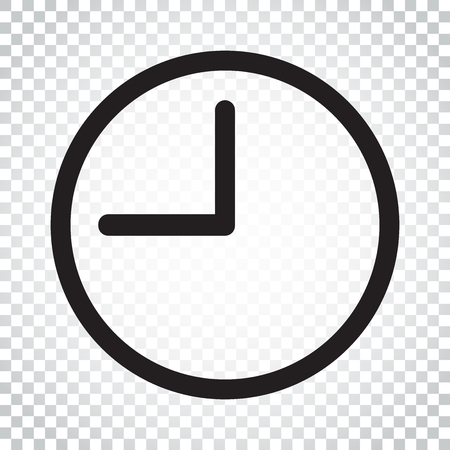 Clock icon illustration. Flat vector clock pictogram. Simple business concept pictogram.