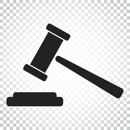 Auction hammer vector icon. Court tribunal flat icon. Simple business concept pictogram on isolated background.
