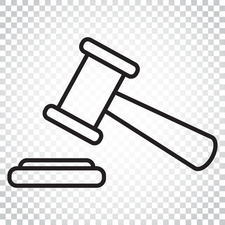 Auction hammer vector icon in line style. Court tribunal flat icon. Simple business concept pictogram on isolated background.