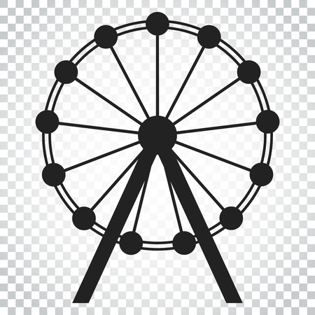 Ferris wheel vector icon. Carousel in park icon. Amusement ride illustration. Simple business concept pictogram on isolated background.