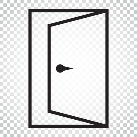 Door vector icon in line style. Exit icon. Open door illustration. Simple business concept pictogram on isolated background.