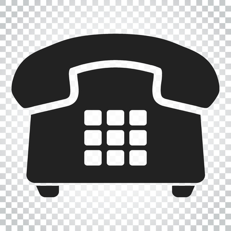 Phone vector icon. Old vintage telephone symbol illustration. Simple business concept pictogram on isolated background. Illustration