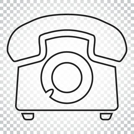 Phone vector icon in line style. Old vintage telephone symbol illustration. Simple business concept pictogram on isolated background.