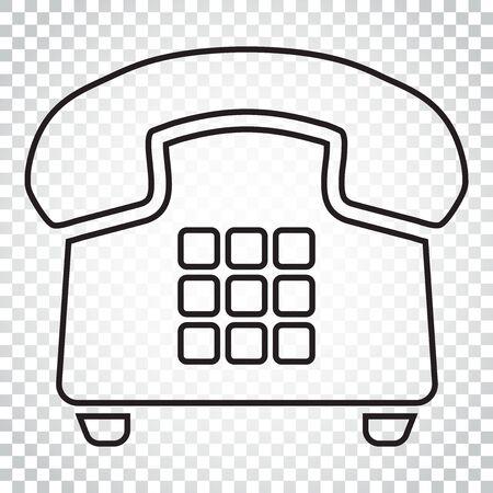 Cone de vetor de telefone no estilo de linha. Ilustração velha do símbolo do telefone do vintage. Pictograma simples do conceito do negócio no fundo isolado. Foto de archivo - 82985878