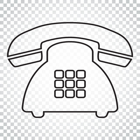 old telephone: Phone vector icon in line style. Old vintage telephone symbol illustration. Simple business concept pictogram on isolated background.