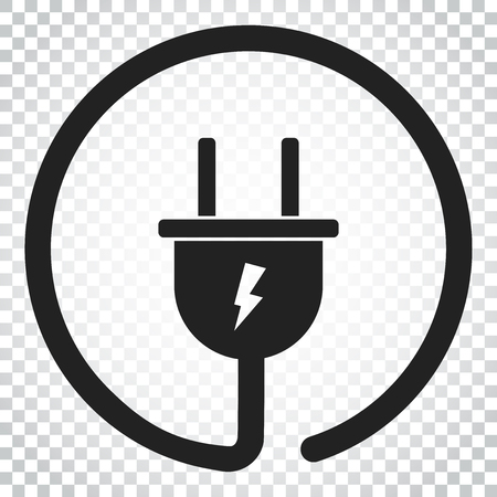 Plug vector icon. Power wire cable flat illustration. Simple business concept pictogram on isolated background. Ilustração